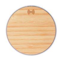 Vezeték nélküli töltő bambuszból - logózható természetes reklámajándék