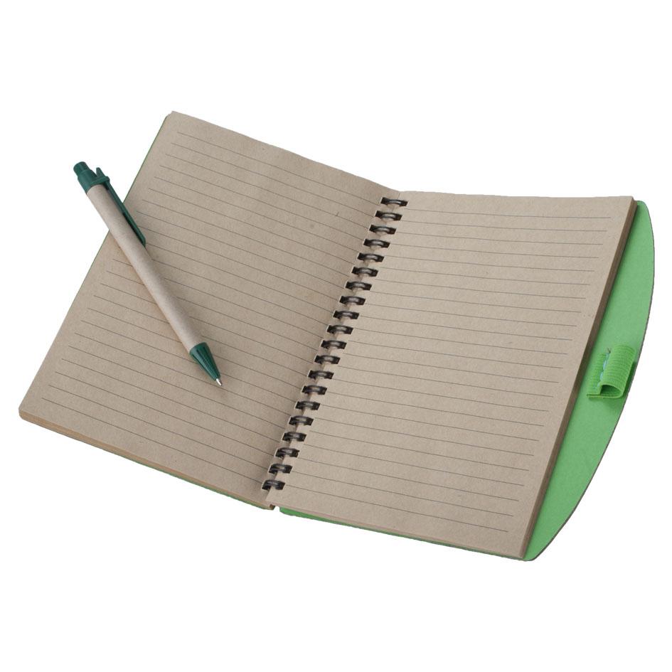 Zöld jegyzetfüzet logózással